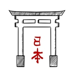 Japanese traditional gate torii sketch vector