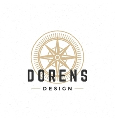 Old compass logo hand drawn vintage design vector image vector image