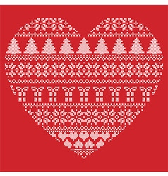 Pattern cross stitch heart shape on red background vector