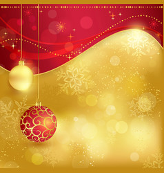 Red golden Christmas background with baubles vector image