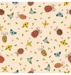 Seamless pattern with leaves hearts and ladybirds vector image vector image