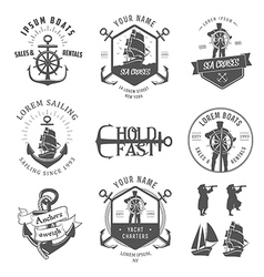 Set of vintage nautical vector image vector image