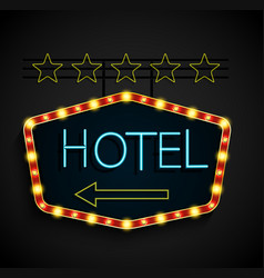 shining retro light banner hotel on a black backgr vector image vector image