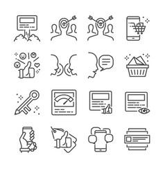social marketing line icon set vector image vector image