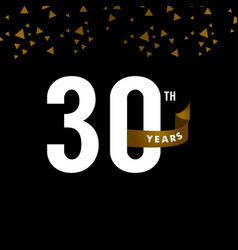 30 years anniversary number with gold ribbon vector
