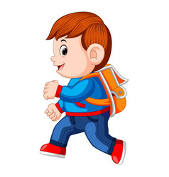 A schoolboy with backpacks walking vector
