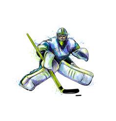 Abstract hockey goalkeeper from splash of vector