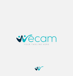 Abstract logo for initial w in we cam for together vector