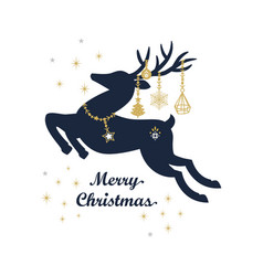 Abstract navy blue and golden christmas reindeer vector