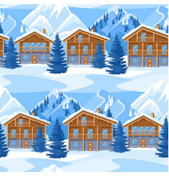 alpine chalet houses seamless pattern winter vector image