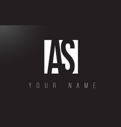as letter logo with black and white negative vector image