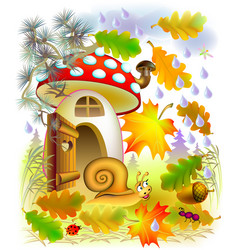 Autumn in fairyland forest cartoon image vector