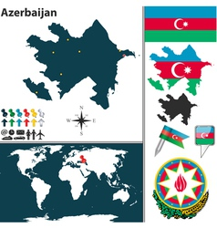 Azerbaijan map world vector image