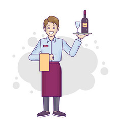 banner flat-line caucasian male restaurant worker vector image