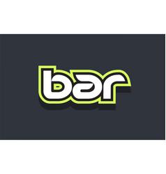 Bar word text logo design green blue white vector