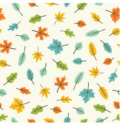 beautiful leaves colourful seamless pattern vector image