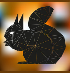 black squirrel abstract silhouette of triangles vector image