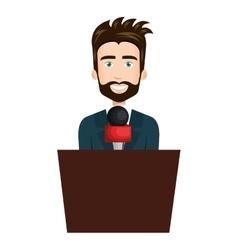 Breaking news reporter character vector