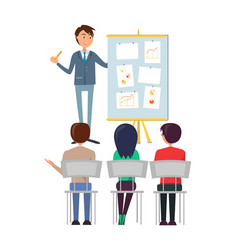 Business seminar boss with workers presentation vector