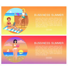 business summer pages set vector image