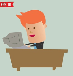 Cartoon business man working with computer vector