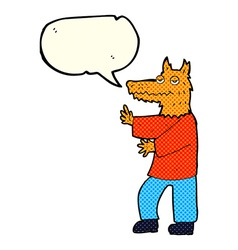 Cartoon fox with speech bubble vector