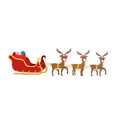 Cartoon sleigh reindeers of santa claus vector