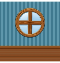 Cartoon Wooden round window Home Interior vector image
