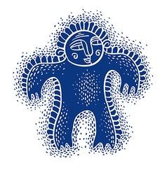 Character monster flat cute blue mutant dr vector
