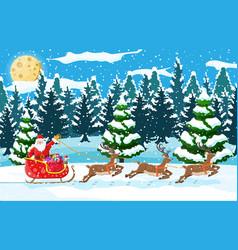 christmas landscape santa rides reindeer sleigh vector image