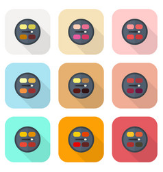Circular eyeshadow palettes flat icon set vector