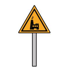 Color triangle caution emblem factory pollution vector