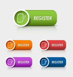 Colored rectangular web buttons register vector