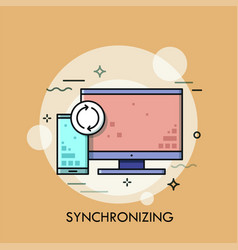 computer screen smartphone and synchronization vector image