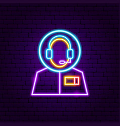 cosmonaut neon label vector image