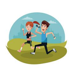 couple running sport landscape vector image