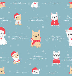 cute french bulldog puppy dog in christmas vector image