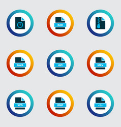Document icons colored set with file svg file rar vector