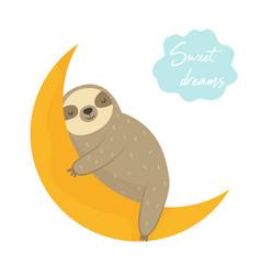 dreaming funny sloth sleeping on moon vector image