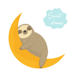 Dreaming funny sloth sleeping on the moon vector