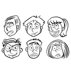 Faces of men and women vector