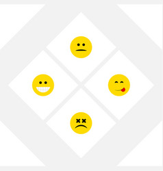 Flat icon face set of displeased delicious food vector