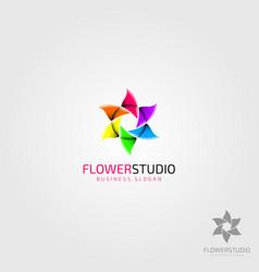 Flower studio - photography logo vector