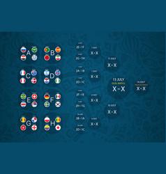 football tournament calendar scheme infographic vector image
