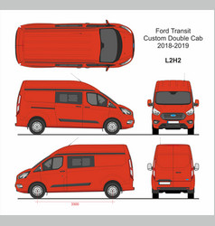 Ford transit custom delivery van l2h2 2018-2019 vector