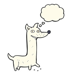 funny cartoon dog with thought bubble vector image