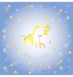 Giraffe and baby giraffe greeting card vector image