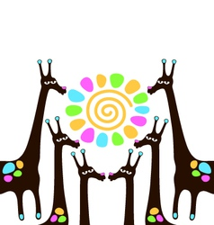 Giraffes with sun vector