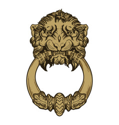 Gold lion head door knocker hand drawn vector