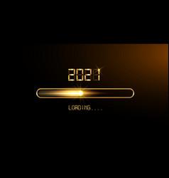 gold progress bar on black download 2021 new year vector image